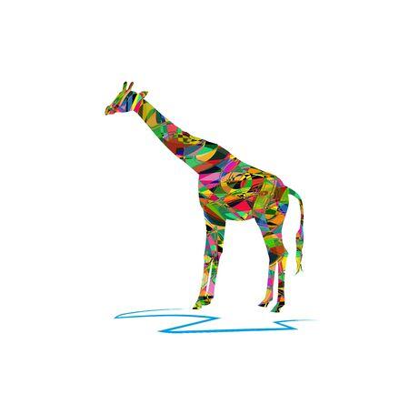 vector illustration of giraffe on white background