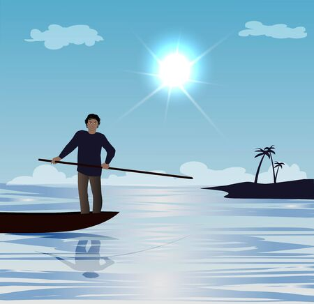 vector illustration of man on small boat