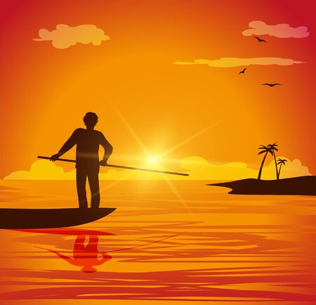 vector illustration of man on small boat at sunset