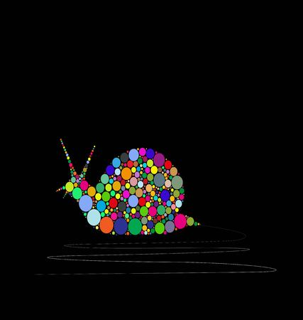 vector illustration of snail composed by colors on black background Illustration