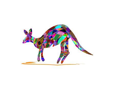 Vector illustration of kangaroo on a white background.