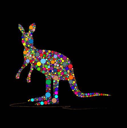 Vector illustration of kangaroo on a black background Ilustracja