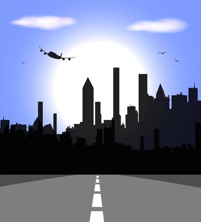 Imaginary city skyline with skyscrapers and airplane in the background Illustration