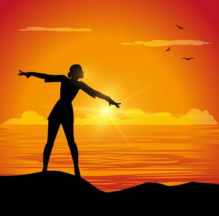 A vector illustration of girl with open arms facing the sea