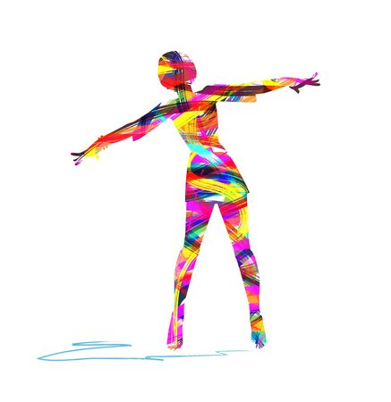 Colorful illustration of a girl with open arms Illustration