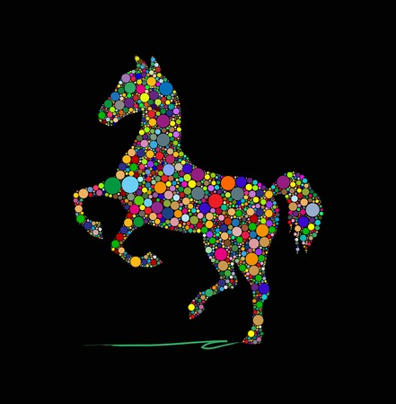 Vector illustration of horse on a black background