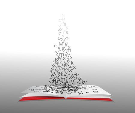 アルファベットの文字が飛び去るオープンブックの象徴的なイラスト。