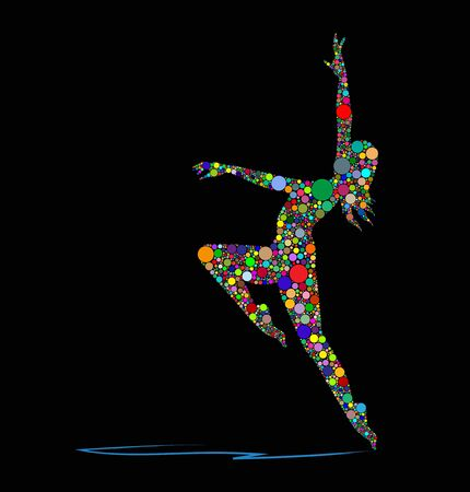 Vector illustration of a dancer on a black background