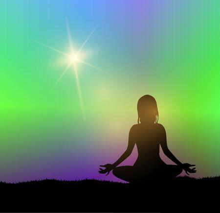 Silhouette illustration of a girl meditating figures