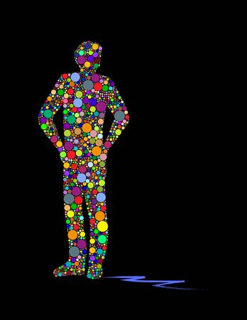 Vector illustration of man made up of colored circles.