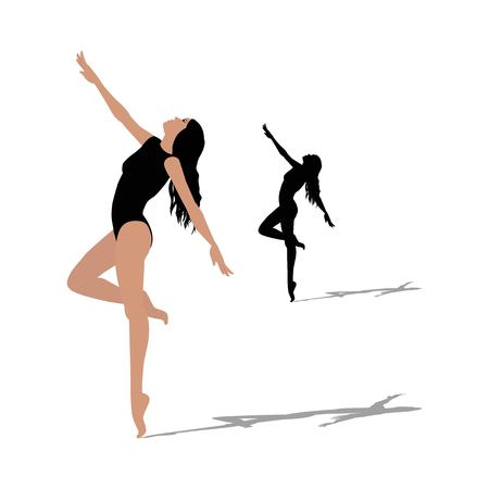 silhouette of dancer on white background