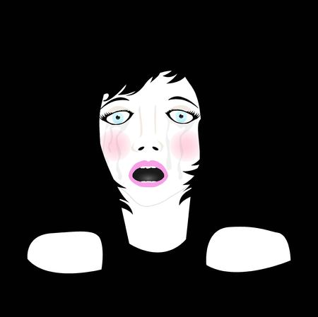 illustration of scared crying woman