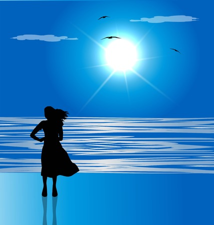 silhouette of woman on the beach looking at the sea on the horizon 向量圖像