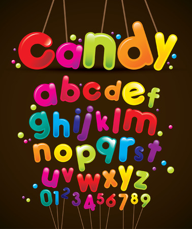 Vector of stylized candy font and alphabet