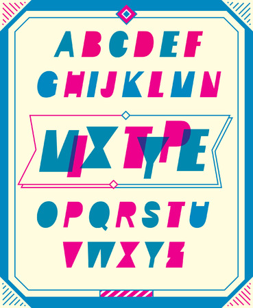 typo: Vector of modern stylized font and alphabet