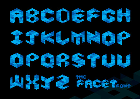 typo: Vector of stylized polygonal font and alphabet