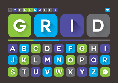 rounded: Vector of stylized modern app font and alphabet