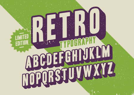 statements: Vector of retro stylized font and alphabet Illustration