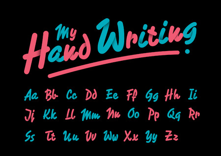 hand writing: Vector of stylized hand writing font and alphabet