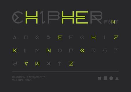 secret code: Vector of modern stylized font and alphabet