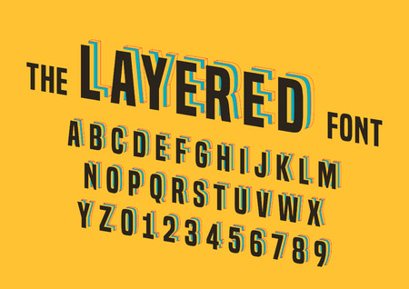 layered: Vector of stylized layered font and alphabet