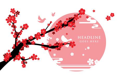 festive background: Vector of modern cherry blossom and festive background