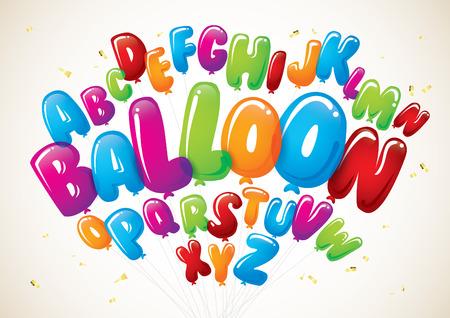 カラフルなバルーン フォントやアルファベットのベクトル