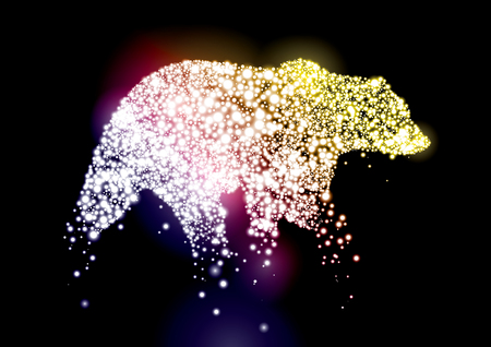 Vector of stylized animal silhouette formed in constellation