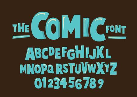 Vector of modern comical font and alphabet Illustration