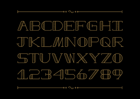Vector of stylized font and alphabet
