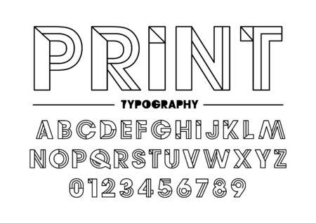 Vector of modern sleek font and alphabet Illustration