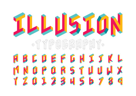 A Vector of modern abstract font and alphabet. Çizim