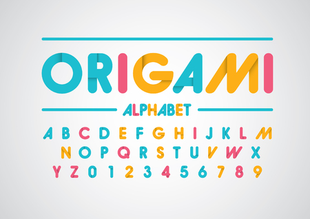 Vector of abstract paper font and alphabet