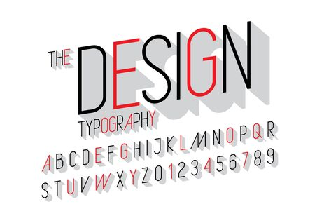 Vector of modern sleek font and alphabet Illustration