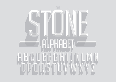 A Vector of bold emboss font and alphabet.