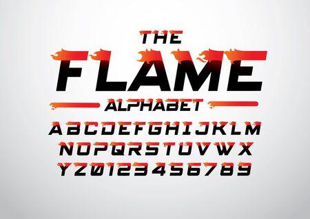 추상 타오르는 글꼴과 알파벳의 벡터