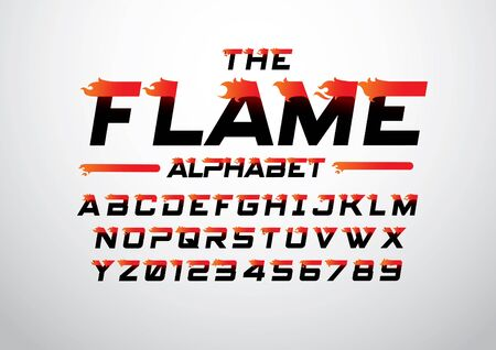 Vector of abstract flaming font and alphabet Ilustração