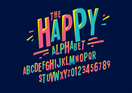 Modern colorful font and alphabet