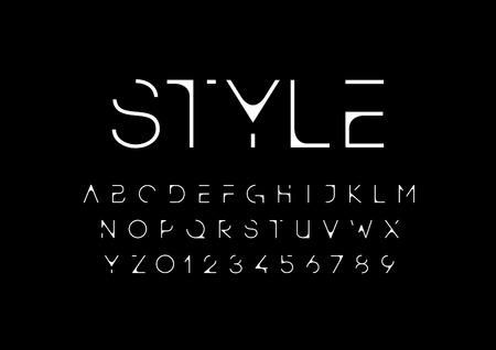 Vector of modern futuristic font and alphabet Illustration