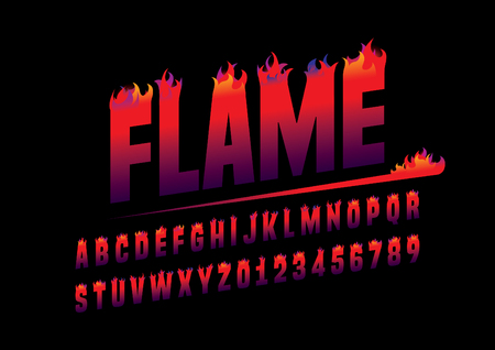 Vector of abstract flaming font and alphabet Çizim