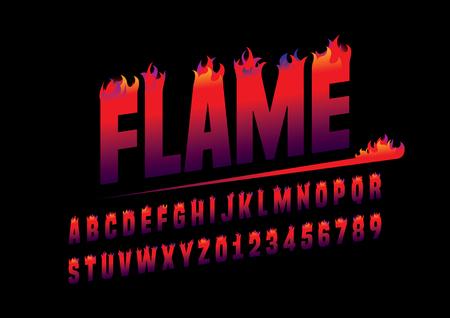 Vector van abstracte vlammende lettertype en alfabet