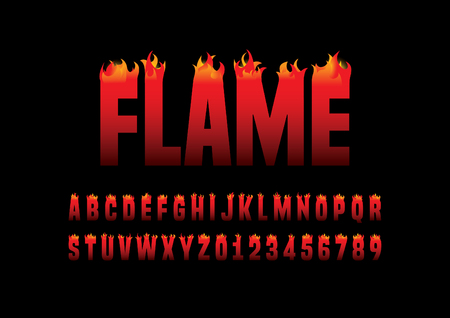 flaming: Vector of abstract flaming font and alphabet Illustration