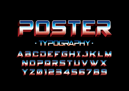 A Vector of modern stylized bold font and alphabet illustration.