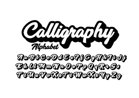 Modern calligraphic font and alphabet