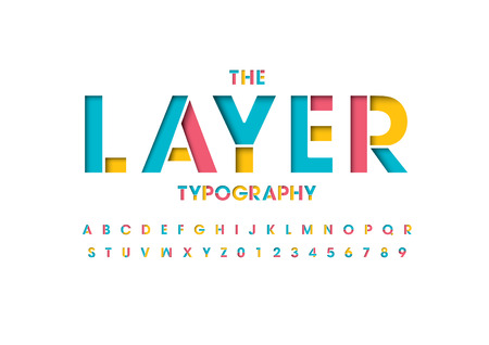 Colorful layered font and alphabet