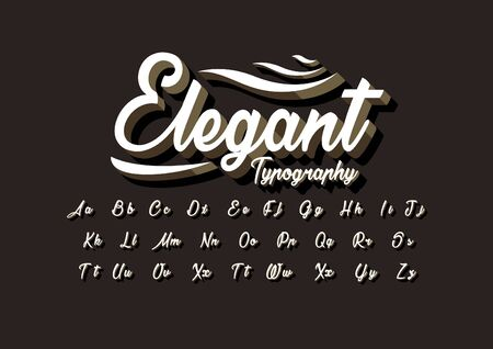 Vector of stylized cursive font and alphabet