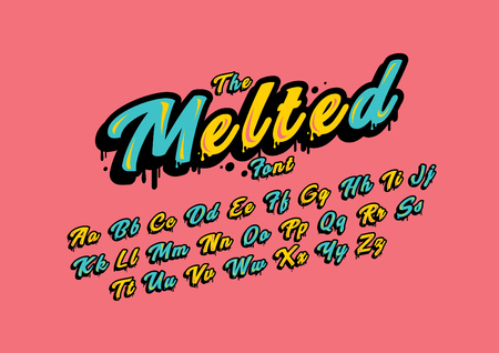 Stylized melted font and alphabet
