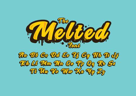 Gestileerde gesmolten lettertype en alfabet