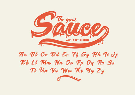 Sauce Vector of modern stylized font and alphabet Illustration