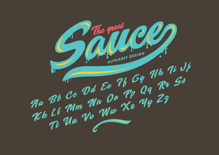 Sauce Vector of modern stylized font and alphabet Çizim